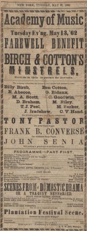 Farewell Benefit, Birch & Cotton's Minstrels, May 13, 1862
