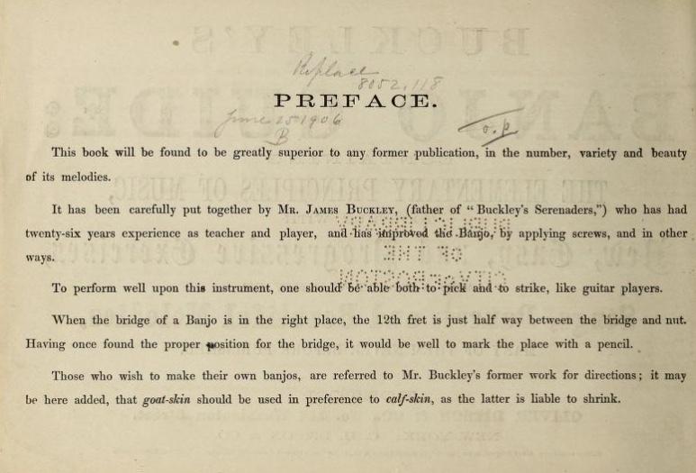 Buckley's Banjo Guide, Preface