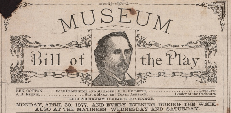 Detail of Masthead, Playbill Cotton's Opera House/ Wood's Museum, Chicago, 1877